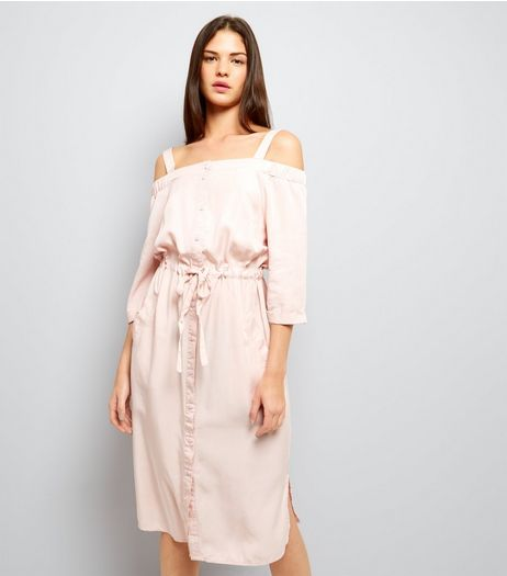 Mid Pink Cold Shoulder Midi Dress  | New Look