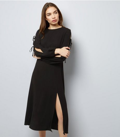 Black Tie Sleeve Split Side Midi Dress  | New Look