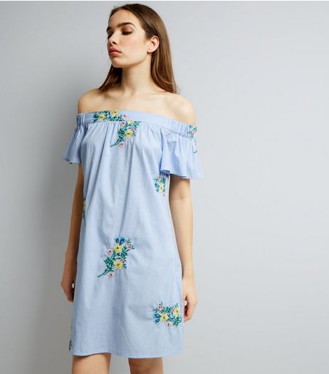 Blue Stripe Floral Embroidered Bardot Neck Dress | New Look