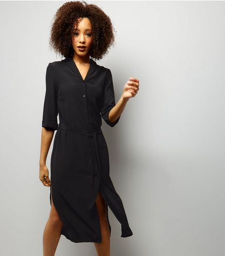 Black 1/2 Sleeve Belted Midi Shirt Dress  | New Look