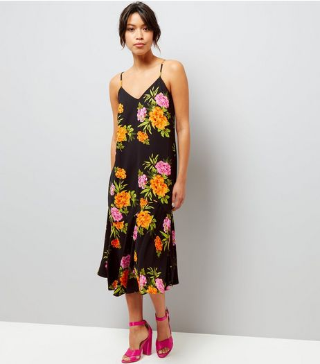 Black V Neck Floral Print Midi Dress  | New Look