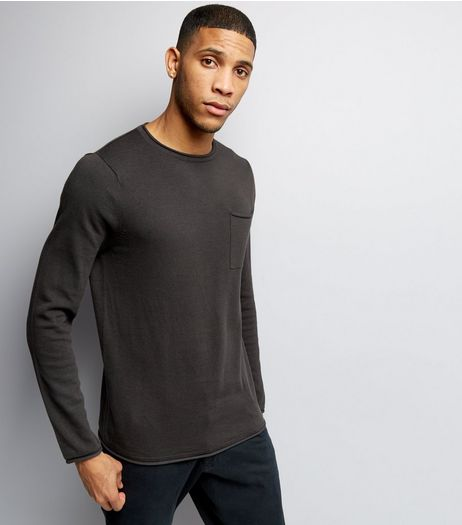 Dark Grey Knitted Pocket Front Jumper  | New Look