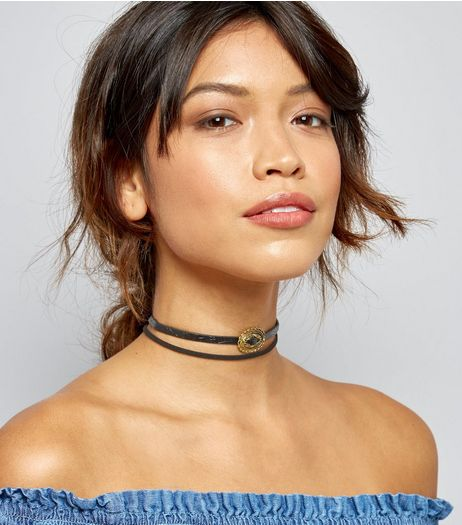 5 Pack Black Western Charm Chokers | New Look
