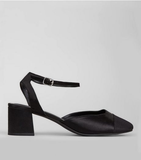 Wide Fit Black Satin Ribbed Toe Cap Block Heels | New Look