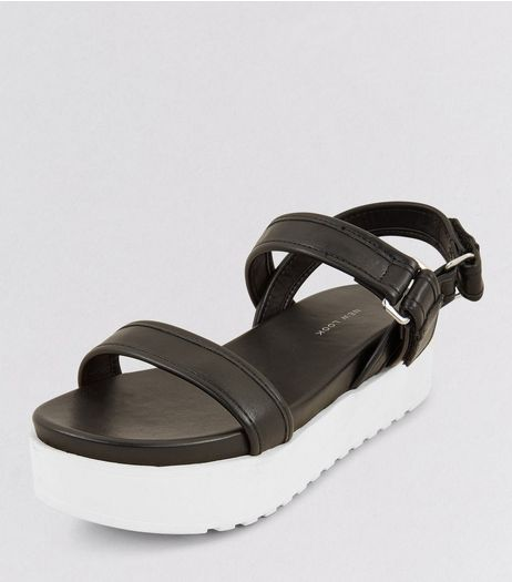 Wide Fit Black Contrast Flatform Sole Sporty Sandals | New Look