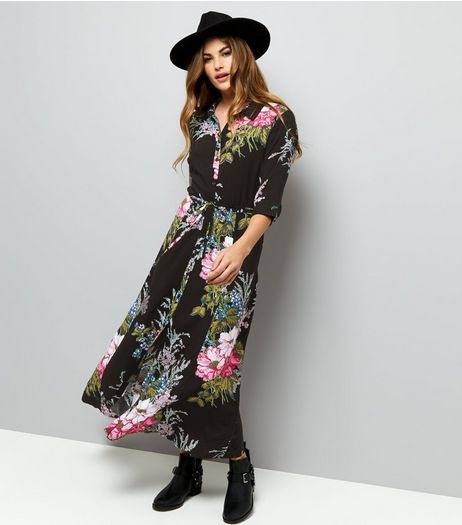 Black Floral Print 1/2 Sleeve Maxi Shirt Dress  | New Look