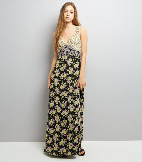 Black Floral Print Sleeveless Maxi Dress  | New Look