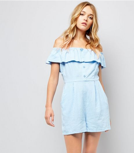 Pale Blue Button Front Bardot Neck Playsuit | New Look