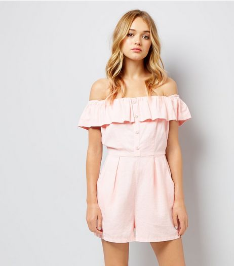 Pink Button Front Bardot Neck Playsuit | New Look