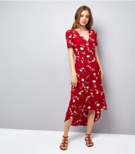Red Floral Print V Neck Midi Dress | New Look
