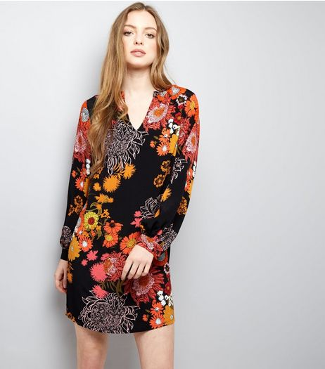 Black Floral Print V Neck Swing Dress | New Look