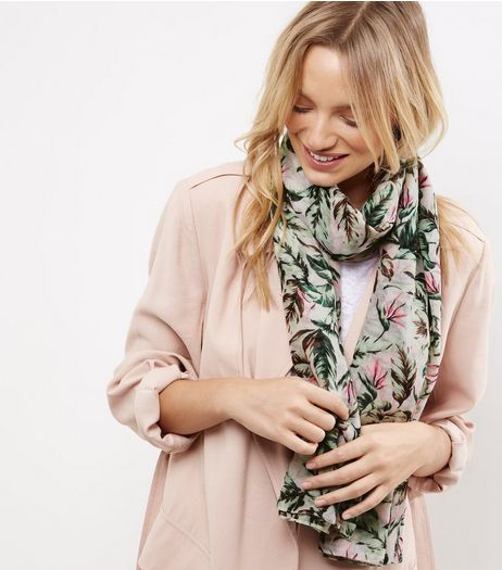 White Neon Tropical Print Longline Scarf | New Look