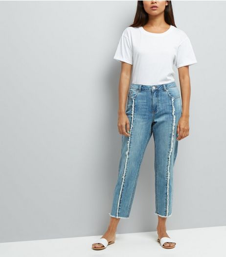 Petite Pale Blue Frayed Seam Front Straight Leg Jeans | New Look