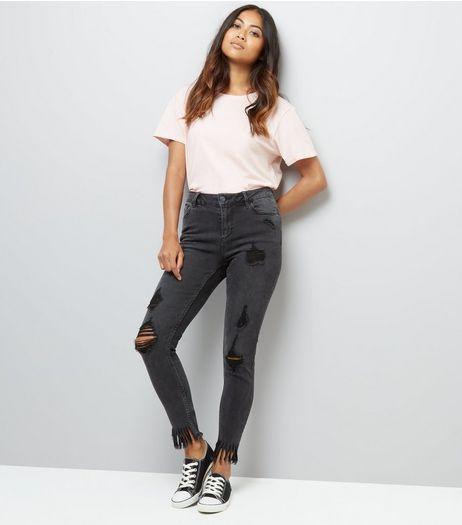 Petite Black Ripped Fringe Hem Skinny Jeans | New Look