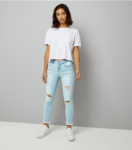 Petite Pale Blue Ripped Fray Hem Skinny Jeans | New Look