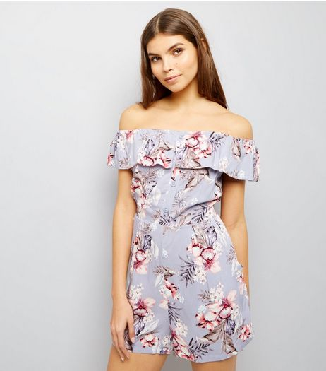 Lilac Floral Print Bardot Playsuit | New Look