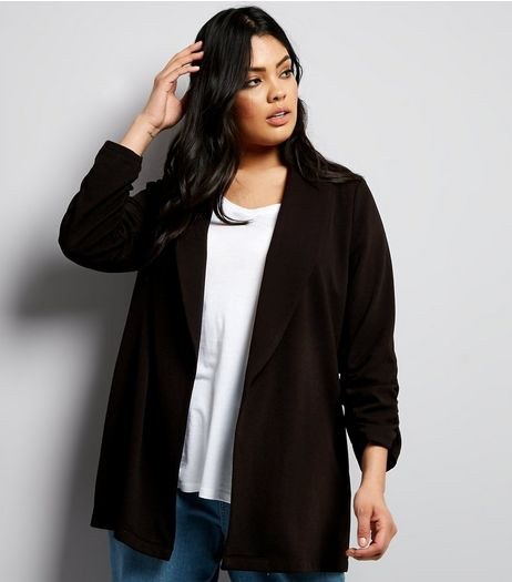 Curves Black Crepe Ruched Sleeve Blazer | New Look