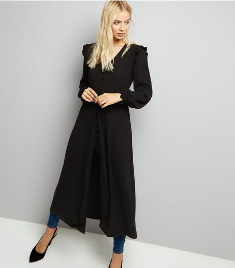 Black Button Front Long Sleeve Midi Dress | New Look