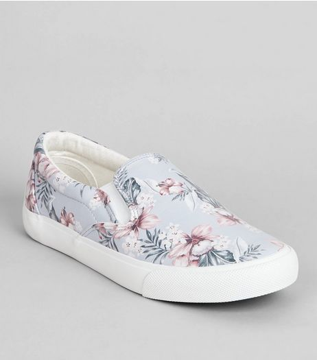 White Sole Floral Print Plimsolls | New Look