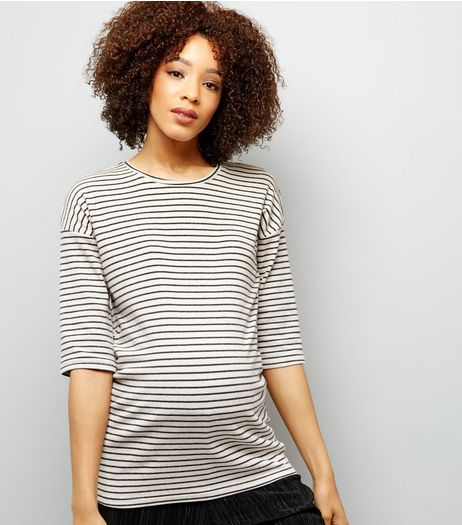 Maternity Black Stripe Brushed Crew Neck 3/4 Sleeve Top | New Look