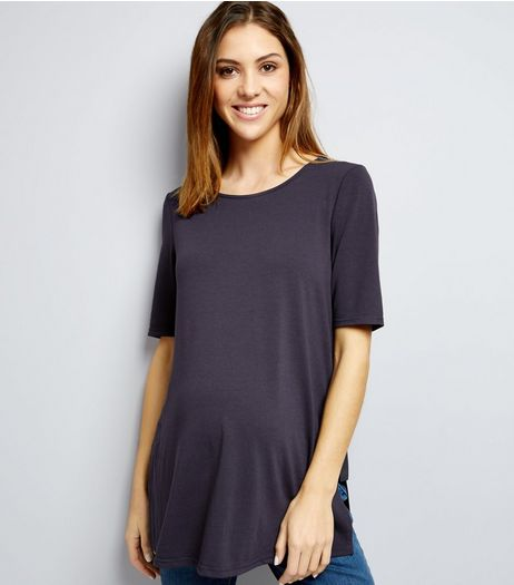Maternity Blue Ring Trim Longline Tunic  | New Look