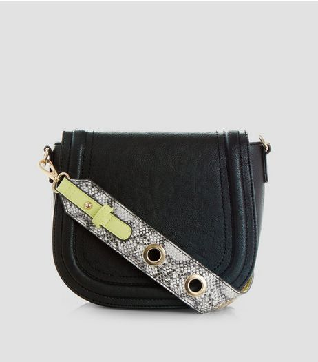 Black Snakeskin Textured Strap Saddle Bag | New Look