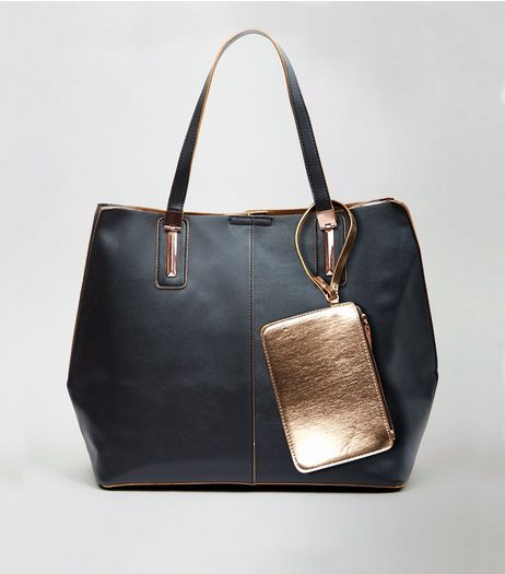 Black Gold Trim Tote Bag | New Look