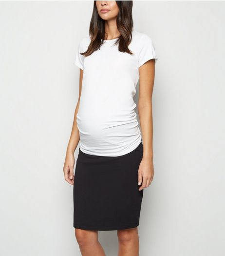 Maternity Black Jersey Midi Tube Skirt | New Look