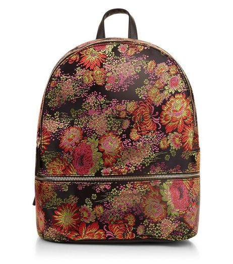 Black Floral Jaquard Backpack | New Look