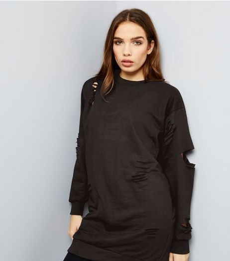 Parisian Black Ripped Jumper Dress | New Look