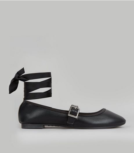 Black Ankle Tie Fastening Sandals  | New Look