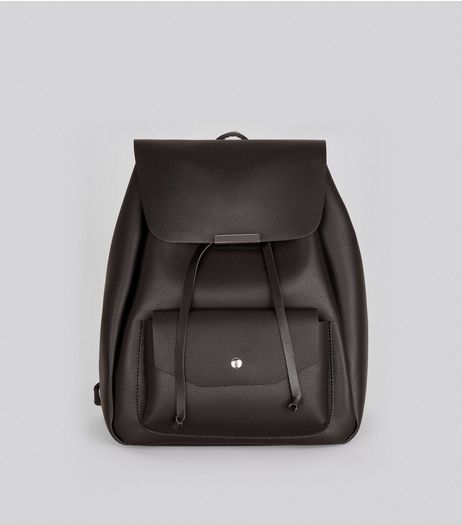 Black Pocket Front Drawstring Backpack | New Look