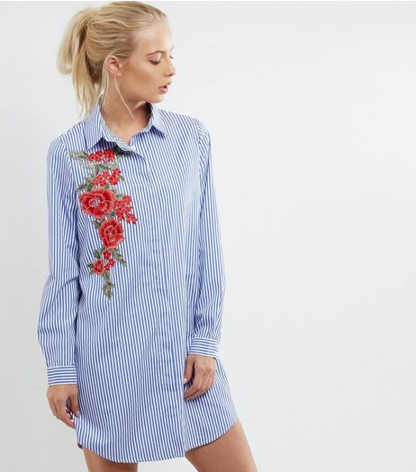Parisian Blue Striped Floral Embroidered Shirt | New Look