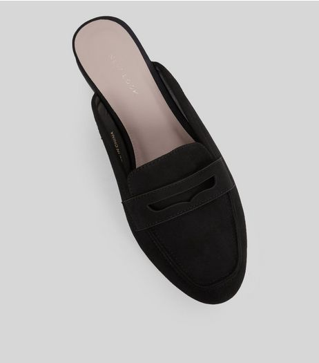 Black Suedette Mule Loafers | New Look