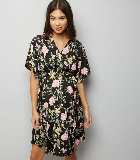 Maternity Black Floral Kimono Sleeve Wrap Front Dress | New Look