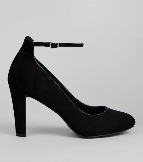 Black Comfort Suedette Ankle Strap Court Shoes | New Look
