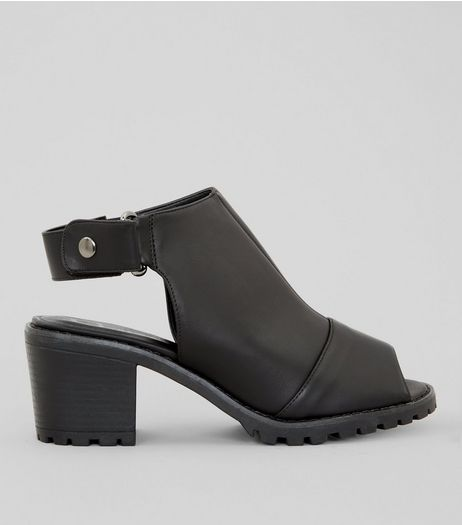 Wide Fit Black Cleated Sole Heeled Sandals | New Look