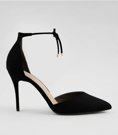 Black Comfort Suedette Tie Up Front Heels | New Look