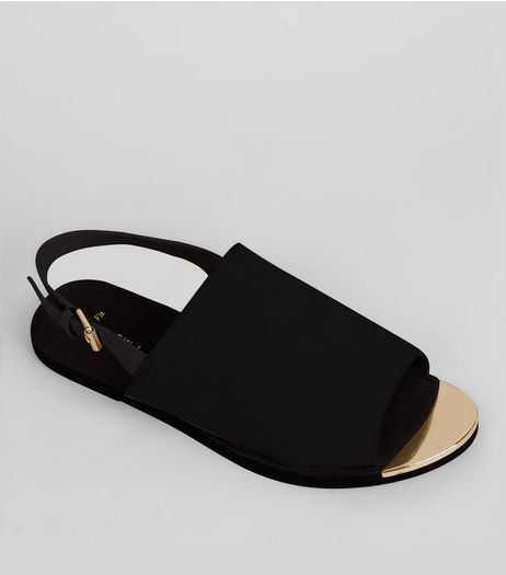 Wide Fit Black Suedette Metal Trim Mules | New Look