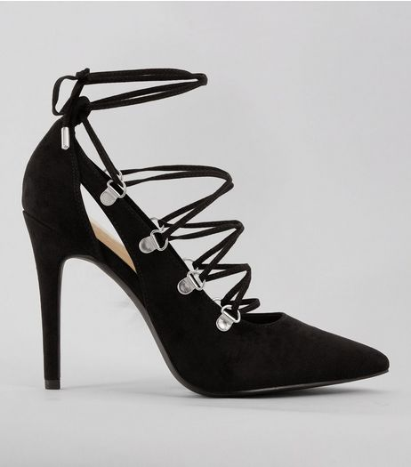 Black Suedette Eyelet Lace Up Pointed Heels | New Look