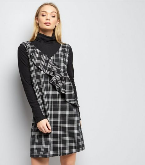 Black Check Frill Trim Sleeveless Dress  | New Look