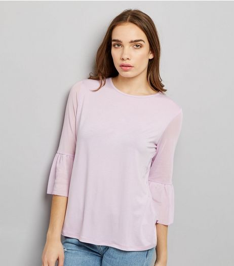 Lilac Spot Print Mesh Bell Sleeve Top | New Look