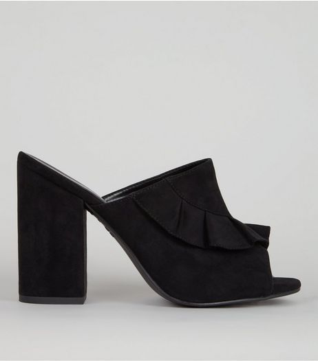 Black Suedette Frill Trim Heeled Mules | New Look