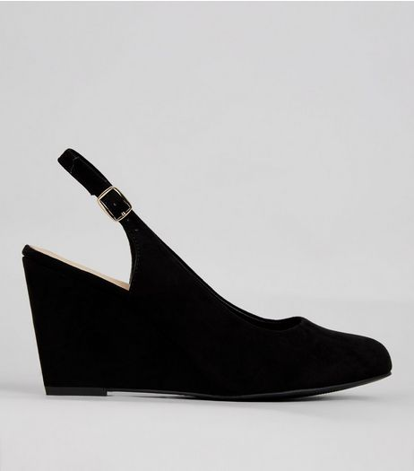 Wide Fit Black Comfort Sling Back Wedges | New Look