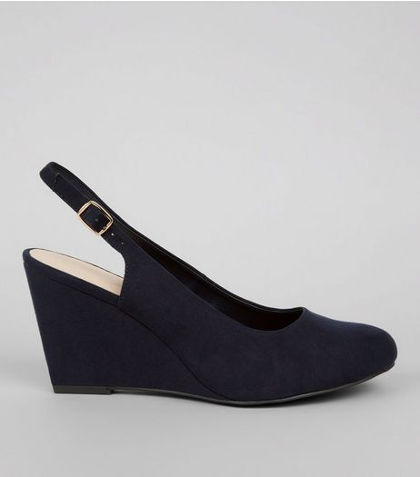 Wide Fit Navy Comfort Sling Back Wedges  | New Look