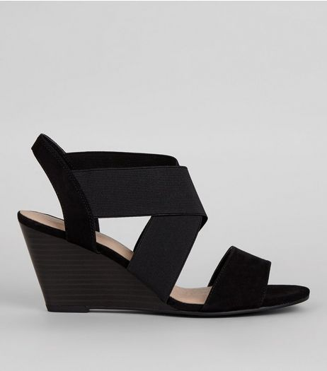 Black Comfort Suedette Elasticated Strap Wedges | New Look