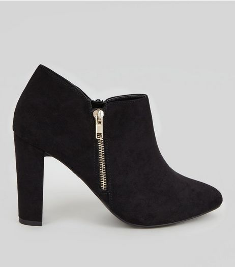 Wide Fit Black Suedette Zip Side Shoe Boots | New Look
