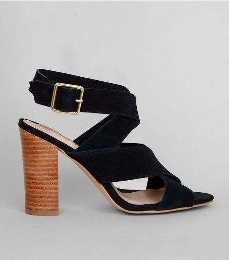 Black Comfort Suede Contrast Block Heeled Sandals | New Look