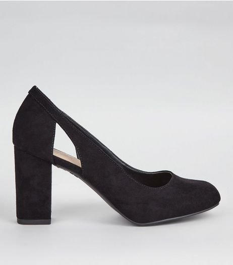 Wide Fit Black Comfort Cut Out Side Block Heels | New Look
