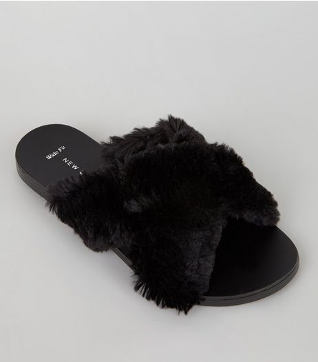 Wide Fit Black Faux Fur Cross Strap Sliders  | New Look